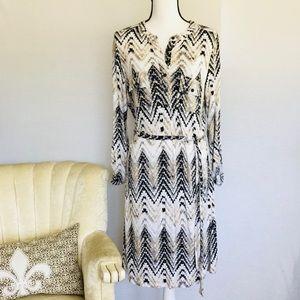 Chevron Belted Shirt Dress